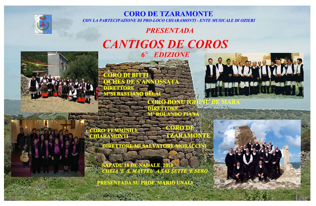 Cantigos de coros - Sesta edizione