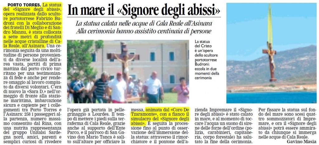 """In mare il """"Signore degli abissi"""" - La Nuova Sardegna 02.08.2011"""